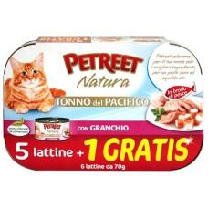 PETREET NATURA TONNO DEL PACIFICO CON POLLO GR.70 5 LATTINE +1 GRATIS