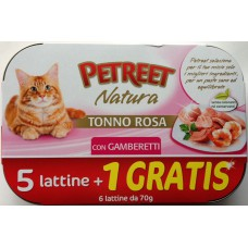 PETREET TONNO ROSA GAMBERETTI GR.70 5 LATTINE + 1 GRATIS