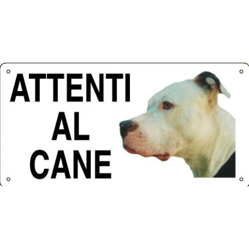 Cartello Attenti Al Cane Alluminio Pitbull
